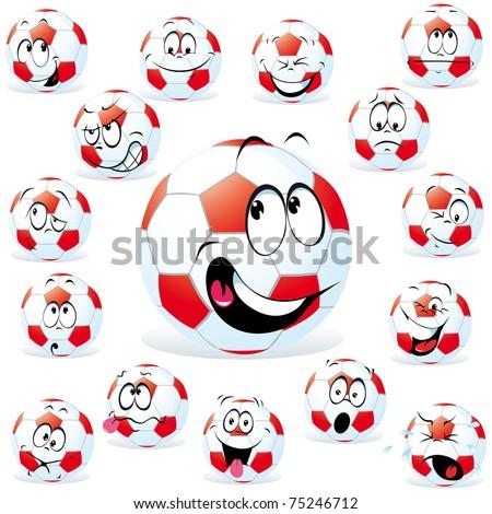 handball cartoon wit many expressions - stock vector