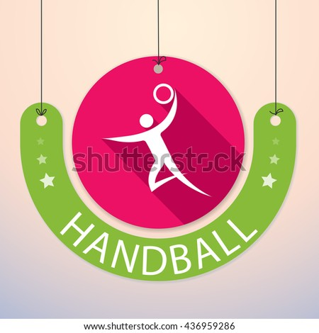 Handball - Colorful Paper Tag for Sports - stock vector