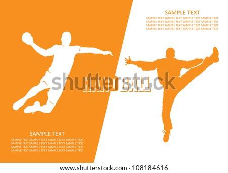 Handball players - vector illustration - stock vector