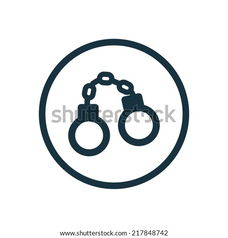 handcuffs circle background icon, isolated on white background  - stock vector