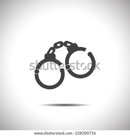 handcuffs vector icon - stock vector