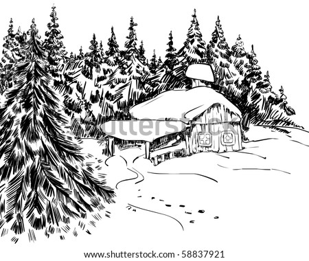 Handdrawing of winter landscape - stock vector