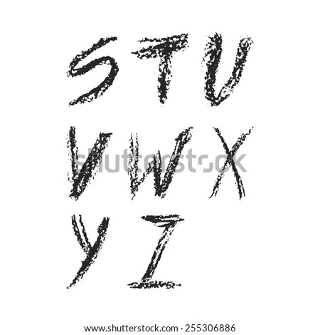 Handdrawn charcoal font - vector file with separated letters S, T, U, V, W, X, Y, Z. Real charcoal texture. - stock vector