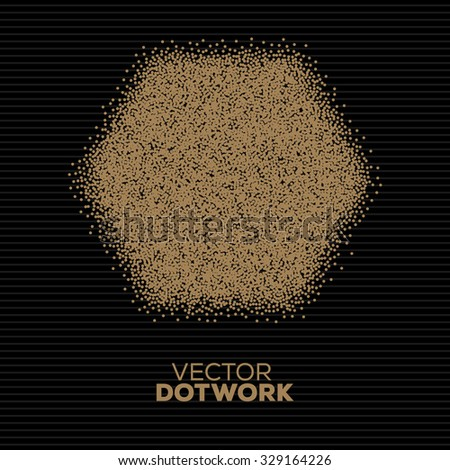 Handdrawn Dotwork Square Vintage Engraved Banner. Abstract Halftone Background. Vector illustration.  - stock vector