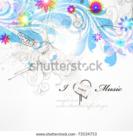 Handdrawn floral design elements. Spring background. Eps 10. - stock vector
