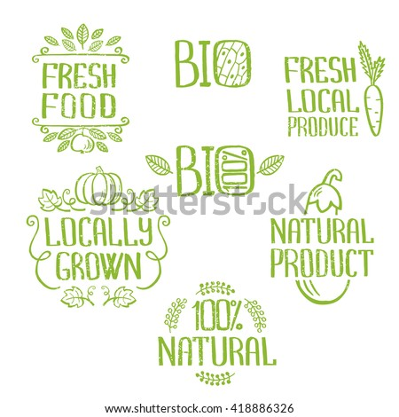 Handdrawn lettering isolated elements.Unique design for ads, signboards, packaging and identity and web designs. Fresh food, locally grown, 100% bio, fresh local produce, 100% natural product.