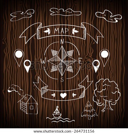 Handdrawn map icons on wooden background  - stock vector