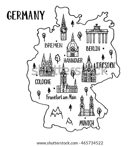 Handdrawn Map Germany Main Symbols Lettering Stock Vector - Germany map main cities