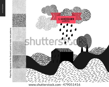 Handdrawn patterns set. Fur seamless patterns with an usage example. Landscape with few patterned hills, rain clouds and trees.