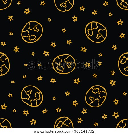 Handdrawn seamless pattern with Earth and stars on black background. Vector illustration. - stock vector