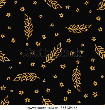 Handdrawn seamless pattern with olive branch and stars on black background. Vector illustration. - stock vector