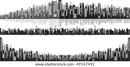 Handdrawn vector panoramic cityscape for your design - stock vector