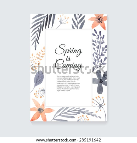 Handdrawn watercolor vector card with place for your text. Unique template for wedding card, save the date, greeting card or invitation. Organic floral design. Summer card. - stock vector