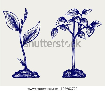 Handful of the ground and plant. Doodle style - stock vector