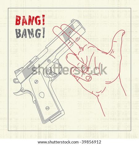 Handgun crossing hand with shooting gesticulation - stock vector