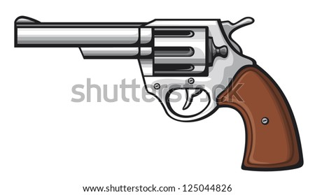 handgun (pistol vector, revolver) - stock vector