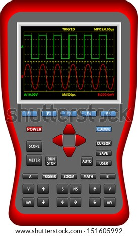 Handheld Digital Big Screen Oscilloscopes - stock vector