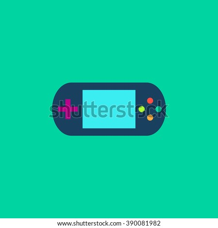 Handheld game console. Flat simple modern illustration pictogram. Collection concept icon for infographic project and logo - stock vector