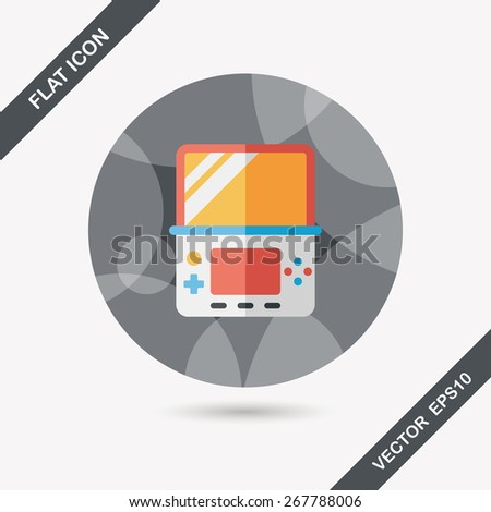 Handheld game consoles flat icon with long shadow,eps10 - stock vector