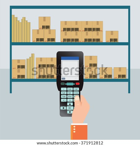 Handheld Mobile Computer in hand, Bar Code scanner, flat design vector illustration. - stock vector