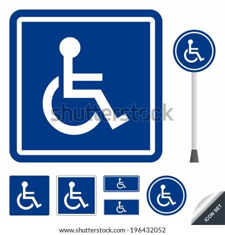 Handicap or wheelchair person icon set - stock vector