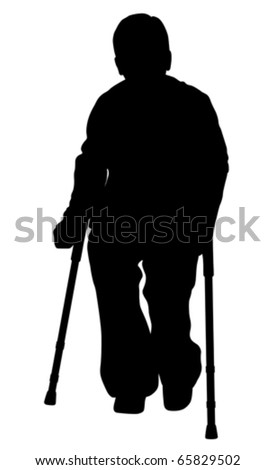 Handicap person with crutches (vector) - stock vector