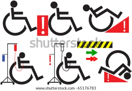 Handicap signs and design elements - stock vector