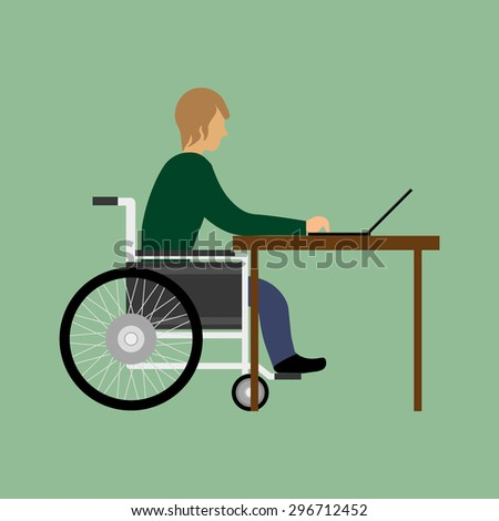 Handicapped man working with laptop - stock vector