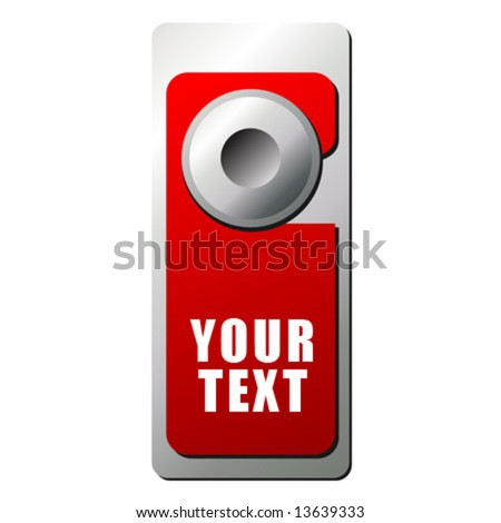 Handle door with warning sign hanging on it over white background - stock vector