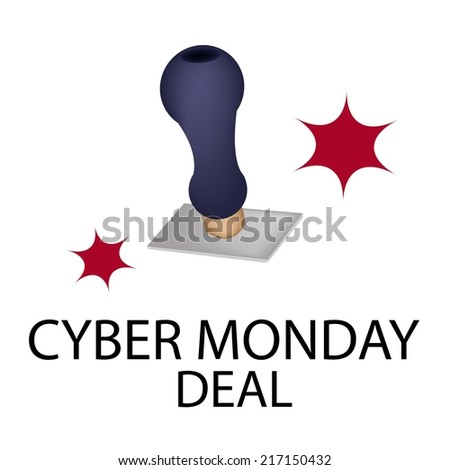 "Handle Stamper Ready to Stamping ""Black Friday Deal"" for Cyber Monday Shopping Season and Biggest Discount Promotion in A Year.  - stock vector"