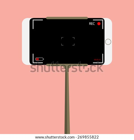 handle video. phone video camera. device for video on a pink bac - stock vector