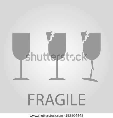 Handle with care or Fragile warning - stock vector