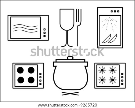 handling guidelines icons - cooking - stock vector