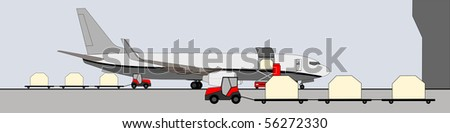 Handling on cargo aircraft on the ramp - stock vector