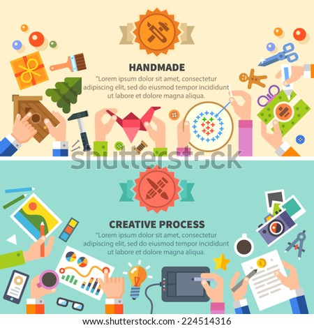 Handmade and creative process: drawing, photo, embroidery, workshop. Vector flat illustrations - stock vector