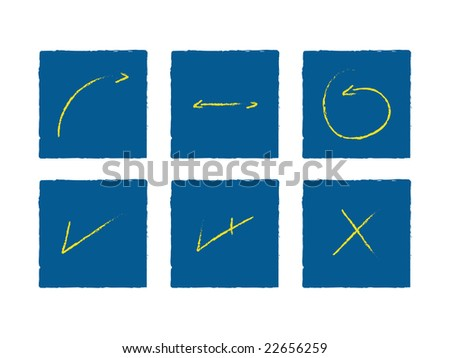 Handmade Arrows and Signals Yellow on Blue (jpeg file has clipping path)