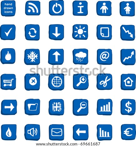 Handmade business and weather color vector icons
