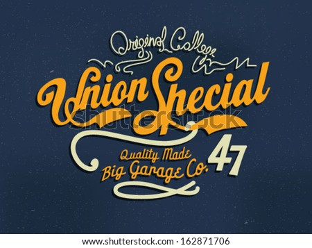 handmade college illustration wording typography - stock vector