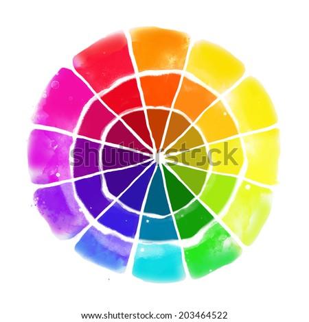 Handmade color wheel. Isolated watercolor spectrum. Raster illustration.  - stock vector
