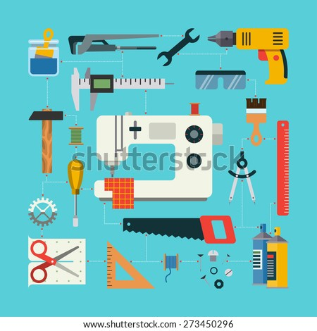 Handmade concept with icons of sewing, construction, repair, drafting items and tools. Flat design vector illustration - stock vector