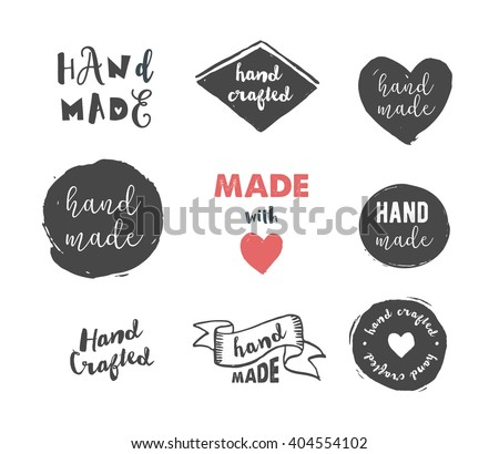 Handmade, crafts workshop, made with love icons - stock vector