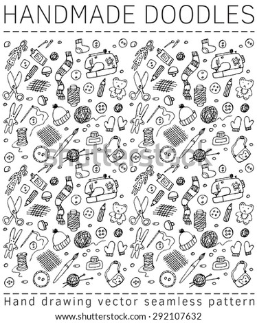Handmade doodles objects and icons seamless pattern Seamless pattern with doodles handmade icons. Black and white vector illustration.