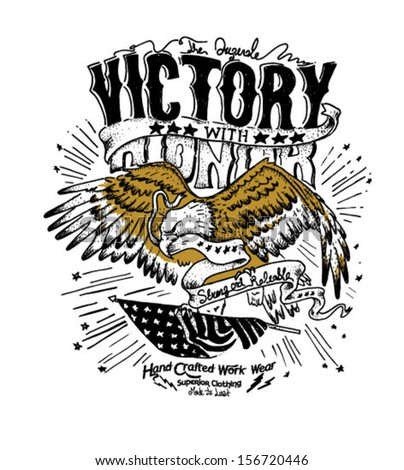 handmade illustration eagle with flag vector. - stock vector