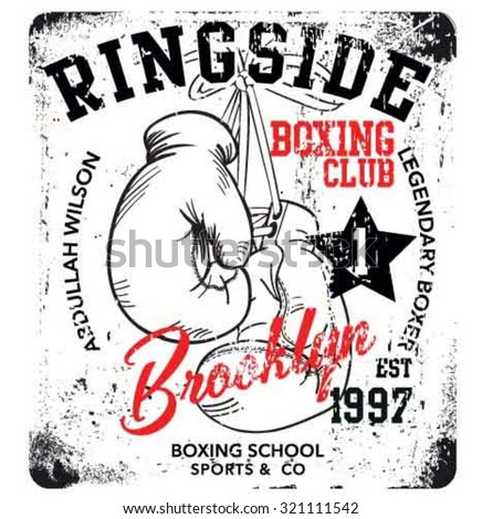 handmade illustration vector sketch athletics boxing gloves logo with wording for apparel - stock vector