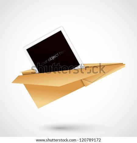 handmade paper plane with photo - stock vector