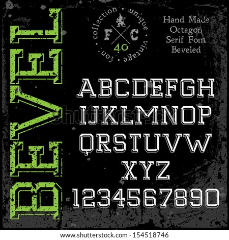 Handmade retro font. Slab serif 3d beveled type. Grunge textures placed in separate layers. Vector illustration. - stock vector
