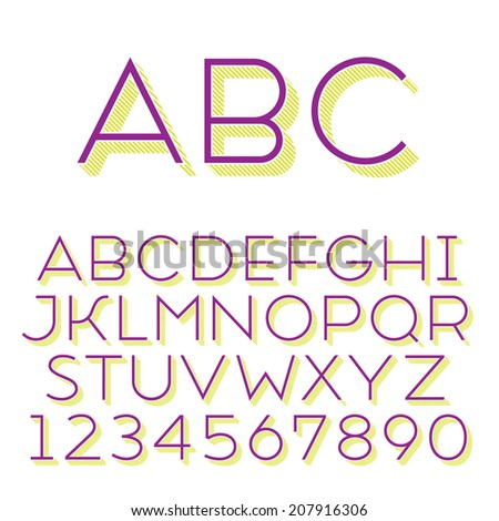 Handmade sans-serif font. Thin 3d-extruded type. Main glyph and 3d extruded part placed in separate layers of vector file. - stock vector