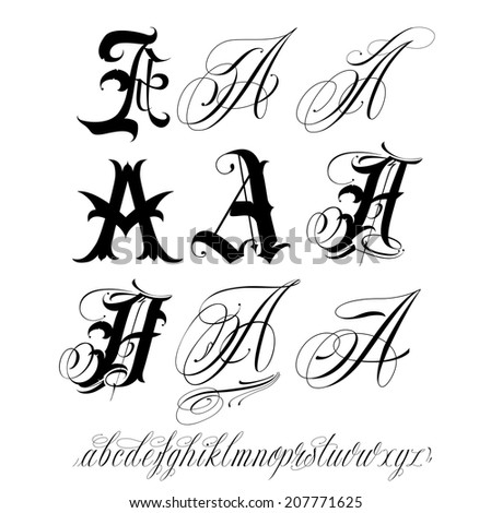 Handmade vector calligraphy tattoo alphabet stock vector 207771625 handmade vector calligraphy tattoo alphabet thecheapjerseys Image collections