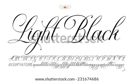Handmade vector calligraphy tattoo alphabet with numbers - stock vector