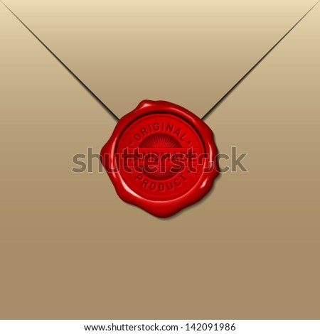 handmade wax seal on golden envelope - stock vector